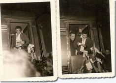 Elvis january 7 1957 in Greenville train station back to Memphis after his last Ed Sullivan show. Mystery Train, The Ed Sullivan Show, Young Elvis, Family Photo Album, Elvis Presley Photos, Priscilla Presley, January 7, Rare Pictures, Graceland