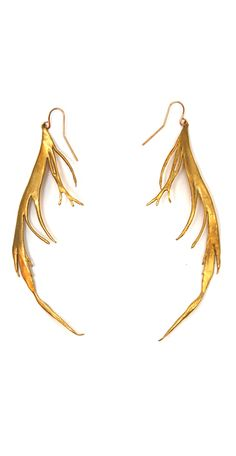 K/ller Collection HAND CAST BRASS  FEATHER EARRING