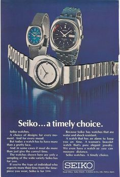 Seiko Ad May 1972 Seiko Automatic, Watch Ad, Seiko Watches, Chronograph, Ads, Accessories, Jewelry Accessories