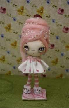 Cupcake Paper Mache OOAK Art Doll--- Pink Sugar
