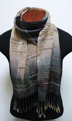Saori inspired scarf made with tencel, wool, cotton, silk and mohair. Warp hand dyed.