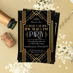 great gatsby holiday invitation new years eve invite christmas party roaring 1920s art deco black gold company party printed