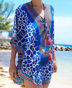 15f45e7a707 Boldly Blue Animal Print Beach Caftan-Beachwear that s as wild as you are!  Sparkling