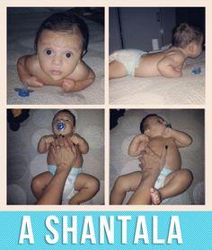 A Shantala é uma massagem que acalma o bebê. O Gael sempre foi ligado no 220, então eu comecei com a Shantala e funcionou muito bem!