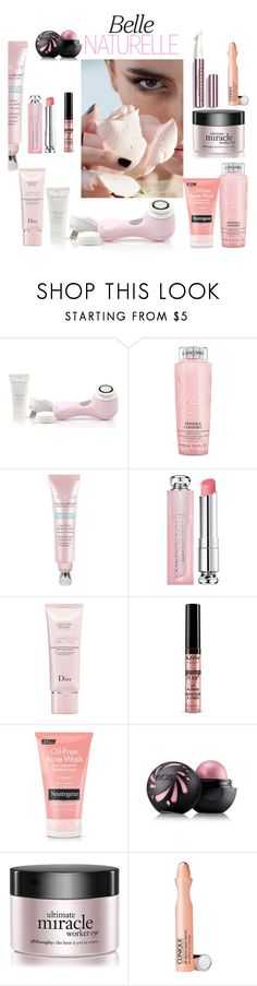 """""""Untitled #18"""" by white-lullaby ❤ liked on Polyvore featuring beauty, Clarisonic, Lancôme, Christian Dior, Forever 21, Neutrogena, Eos, philosophy, Clinique and Chantecaille"""