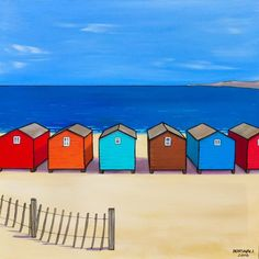 Colourful houses around the harbour. Painted on Loxley gold box canvas with  the image  around the edges. Ready to hang.