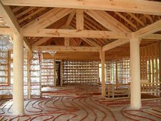 radiant heat tubing laid out on floor