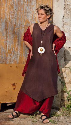 Dark Purple shantung silk tunic and harem pants