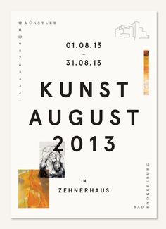 weeklyfortnightdesign: Kunstaugust 2013 - Print design for an exhibition featuring 12 artists in Bad Radkersburg. Designed by Josef Heigl. ...
