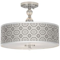 Chrome with Luxe Tile Shade Two Light Ceiling Light - Euro Style Lighting