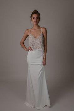The Romantics Collection - Dickinson Top & Utopia Skirt. Spaghetti straps, beaded detailing, fitted skirt. Boho, delicate. #sarahseven #sarahsevenloveclub #bridal
