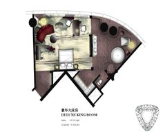 Deluxe King Guestroom key plan for Four Seasons Hotel Guangzhou, designed by HBA/Hirsch Bedner Associates.