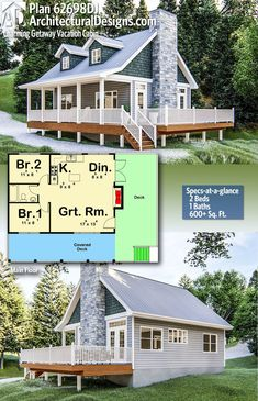 Architectural Designs Cabin Plan gives you 2 bedrooms, 1 bath in sq. Where do YOU want to build? A charming Cottage style cabin plan that is perfect for family getaways. The cabin has 2 bedrooms and a great room that flows into a f Small House Floor Plans, Cabin House Plans, Cabin Floor Plans, Tiny House Cabin, Cabin Homes, Tiny Home Plans, Tiny Cabin Plans, Small Cottage Plans, Two Bedroom Tiny House