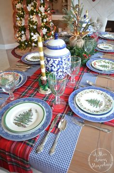 This weekend we hosted friends and family for a Christmas party. I didn't end up getting too many pictures of the table before the party st. Christmas Dining Table, Christmas Tabletop, Spode Christmas Tree, Christmas Table Settings, Christmas Tablescapes, Christmas Table Decorations, Holiday Tables, Blue Christmas Decor, Tartan Christmas