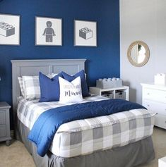 """@tablefor5please shows us you can have a fun theme and a mature color scheme! Pssst.... Our All Clayed Out style seen here will soon be retired which means it's currently included in our """"Going, Going, Gone"""" Sale! #zipperbedding #zipyourbed #beddys #homedecor #boysroom #boysroomdecor #kidsinterior #kidsbedroom #kidsbedding #kidsdesign #bedding #boystuff #boybedding #beddings Boy Room Color Scheme, Blue Color Schemes, Bedroom Color Schemes, Boys Bedroom Colors, Boys Room Decor, Bedroom Ideas, Bedroom Decor, Beddys Bedding, Zipper Bedding"""