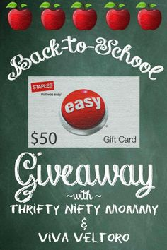 Still need back to school supplies? Enter to win a $50 Staples Gift Card!