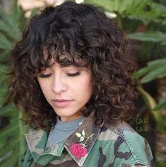 Curly Lob, Curly Hair With Bangs, Haircuts For Curly Hair, Haircut For Thick Hair, Haircuts With Bangs, Curly Hair Cuts, Long Bob Hairstyles, Short Curly Hair, Short Hair Cuts
