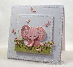 Baby Cards KC Impression Obsession Patchwork Elephant 1 right Baby Girl Cards, New Baby Cards, Girl Birthday Cards, Pretty Cards, Cute Cards, Tarjetas Diy, Punch Art Cards, Cricut Cards, Card Tags