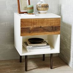 West Elm.  Reclaimed Wood + Lacquer Nightstand.  Need to check the wood color.  $349