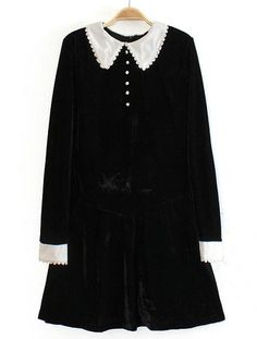Black Contrast Lapel Long Sleeve Velvet Dress - Sheinside.com