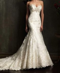 White Ivory Lace Chapel Train Appliqued Wedding Dress Bridal Gown Custom Size