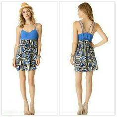 Viva Vena by Vena Cava Dress NWT This vivacious print brings a dose of energy to a Viva Vena by Vena Cava mini dress, featured lovely pool blue hues and is finished with gathered detailing in the back. Doubled spaghetti straps. Pair with a denim jacket and sexy heels!   Brand new with tags  Fabric: slinky weave. 100% polyester. E   No trades Price is firm unless bundled          Dresses