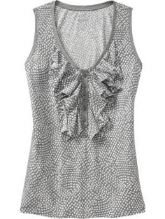 #12.00 Old Navy Ruffled Henley Tank - would be super cute under a little cardigan