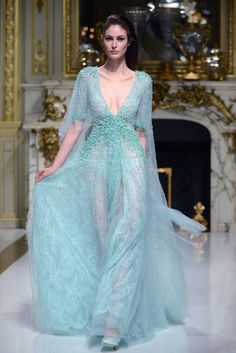 A powder blue gown with amazing details.