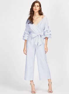 SHEIN Drop Shoulder Gathered Sleeve Surplice Wrap Pinstripe Jumpsuit Three Quarter Length Sleeve V Neck Striped Jumpsuit Wrap Jumpsuit, Lace Jumpsuit, Striped Jumpsuit, Bridal Jumpsuit, Jumpsuit Pattern, Types Of Sleeves, Fashion News, Women's Fashion, Color Fashion