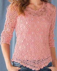 crochelinhasagulhas: Blusa rosa com rosetas em crochê