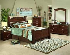 lovely combination with the dark brown and teal....Sandberg La Jolla Cafe Queen Bedroom Set