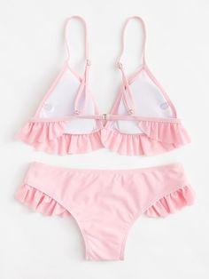 8ba9ce7e88097 Ruffle Hem Bikini Set -SheIn(Sheinside)