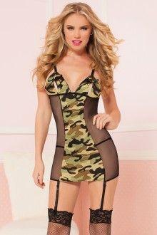 afe4caf0cd1b Camouflage Sexy Sheer Sides Slit Bra Top Chemise Set Valentines Lingerie,  Silk Chemise, Camo