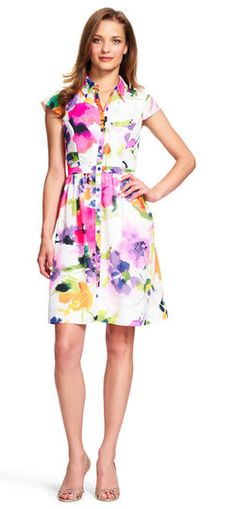 Adrianna Papell   Watercolor Floral Fit and Flare Shirtdress