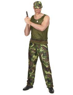 Herren Army Kostüm Soldat Kämpfer Soldatenkostüm Tarn Outfit Herrenkostüm Gr L