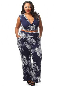 Plus Size Brush Print Belted Jumpsuit Curvy Fashion, Plus Size Fashion, Womens Fashion, Pink Clubwear, Plus Size Romper, Stylish Clothes For Women, Girl Outfits, Rompers, Jumpsuits