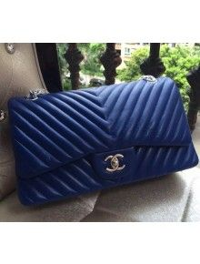75cdfc179624 Chanel 1113 Lambskin Chevron Quilting Classic Jumbo Flap Bag Royal Blue  with SHW 2015 | Chanel | Chanel, Discount jewelry, Bags