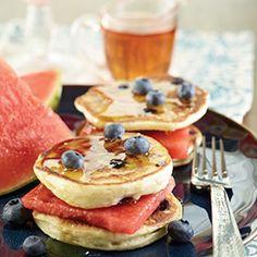 Watermelon Pancake Sandwiches #breakfast