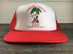Snoopy Hat 1971 70s Vintage Worlds Coolest Dad Snapback Trucker Mesh Charlie  Brown Peanuts Woodstock Cartoon Iconic 1958 44baf3aeaa16