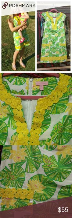 Lilly Pulitzer cap sleeve shift, size 2 Authentic Lilly (pink label) cap sleeve dress. Print is frogs on lily pads, with yellow detailing. Back zip, Lilly lace lining (pictured)  This one is RARE and gorgeous! Size 2. In excellent condition.  From a smoke-free and cat-free home.  Bundle and save!!! Lilly Pulitzer Dresses