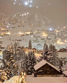 Winter night in Switzerland looks like something out of a christmas movie. - Awesome