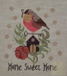 Home Sweet Home from The Goode Huswife - Bird Cross Stitch Pattern Cross Stitch Heart, Cross Stitch Samplers, Cross Stitch Animals, Cross Stitch Flowers, Cross Stitching, Cross Stitch Embroidery, Cross Stitch Designs, Cross Stitch Patterns, Blackwork