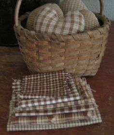 Brown homespun - some made into hearts stuffed in basket