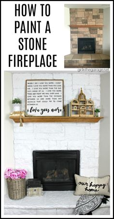 How to easily paint a stone fireplace white with helpful Purdy products meant for rough surfaces. #ad DIY makeover ideas by Girl in the Garage White Stone Fireplaces, Painted Stone Fireplace, White Fireplace, Paint Furniture, Furniture Projects, Furniture Makeover, Cool Diy Projects, Home Projects, Transforming Furniture