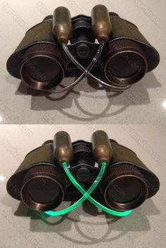 Steampunk binoculars with fibre-optic lighting from CO2