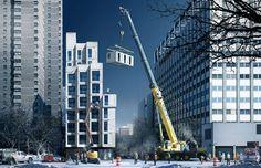"""Primeiros """"microapartamentos"""" pré-fabricados de Nova Iorque serão concluídos ainda este ano. #arquitetura #compacta #engenharia"""
