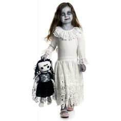 Creepy Doll Costume Kids Scary Halloween Fancy Dress #Charades