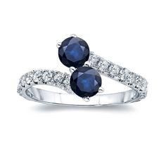 Auriya 14k Gold 1 1/2ct Blue Sapphire and 1/2ct TDW Diamond 4-prong, 2-stone Engagement Ring (H-I, I1-I2) (Yellow Gold - Size 5.5), Women's