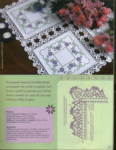 Decorate your table with this romantic tablecloth. It's a cross stitch embroidered tablecloth which decorated with crochet e. Appliques Au Crochet, Crochet Dollies, Crochet Lace Edging, Crochet Fabric, Crochet Motifs, Crochet Borders, Crochet Cross, Crochet Tablecloth, Crochet Chart