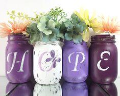 Fall Decor Mason Jar Vase Set Hand Painted Mason by curiouscarrie